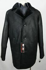 Men New 100% Genuine Real Shearling Leather Sheepskin Jacket Trench Coat S-6XL