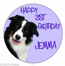 Border Collie dog Personalised Icing Cake Topper Birthday decoration sheepdog