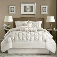 BEAUTIFUL LUXURIOUS ELEGANT MODERN IVORY WHITE RUFFLED TEXTURED  COMFORTER SET