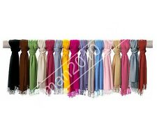Plain Pashmina Scarf Shawl Stole Wrap High Quality Many Colours 100% Viscose UK