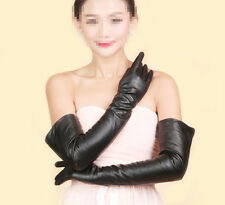 Women's Long Sexy Genuine Sheepskin Leather Gloves Opera Elbow Evening Black