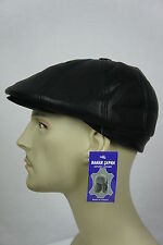 NEW 100%  LEATHER Gatsby Cap Mens Newsboy Ivy Hat Golf Driving Flat Cabbie M-3XL