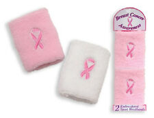 2 Pink Ribbon Breast Cancer Awareness Sport Wrist Sweat Bands Race Fundraiser