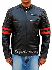 Hybrid Mayhem Fight Club Tyler Durden Designer Motorcycle Film Leather Jacket.