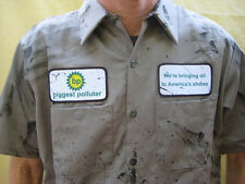 BP Biggest Polluter Funny Oil Stainted Work SHIRT Adult Halloween Costume Spill