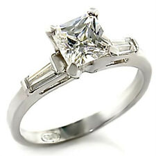 1.53 cttw 6mm Princess AAA CZ SOLID 925 Sterling Silver Engagement Promise Ring