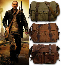 Men's Vintage Canvas Leather Military X-Large 15 Laptop Shoulder Messenger Bag
