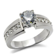 1.33 CTW CZ Stainless Steel Engagement Solitaire Ring with Accents & Giftbox