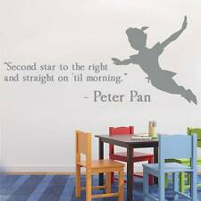 SECOND STAR TO THE RIGHT PETER PEN Quote Decal WALL STICKER Art Home Decor SQ60