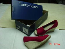 NWT NIB Womens Red Sandal Wedge Peep Toe Unused Unworn Comfort Fashion Foot Wear