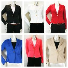 New Women Fonte Lace Basic Gold Buttom Style Blazer Bk,WT,Red,Coral ,Blue,Khaki