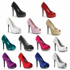 PLEASER BELLA 12 HIGH HEEL PLATFORM PEEP TOE PATENT OR SATIN SHOES SIZE 3-9
