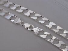 Thick Mens Sterling Silver SQUARE Curb Chain Necklace Real .925 Silver 12mm Wide