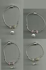 Silver Plated Bracelet with Hope Pendant Charm & Crystal Beads