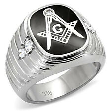 Stainless Steel Black Epoxy with Crystal Men's Masonic Ring, SIZE 8 - 13
