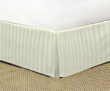 IVORY STRIPED TAILORED BED SKIRT 1000 TC 100% COTTON CHOOSE DROP LENGTH AND SIZE