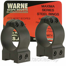 Warne Permanent Attached Steel Rifle Scope Rings for Picatinny / Weaver Rails