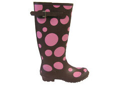 WOMENS EXTRA WIDE CALF FITTING BROWN  RIDING WELLIES WELLINGTON FAB781 UK3 TO 8