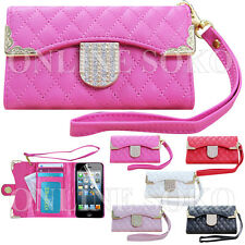 DIAMOND BLING MAGNETIC WALLET LEATHER FLIP CASE COVER FOR iPHONE 4 4S 5 5S 5C 6