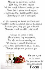 Wedding Money Poem Cards ~ N8 Money request cards - Choose from 6 poems