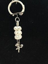 Keychain with Volleyball Charm & Crystal Beads