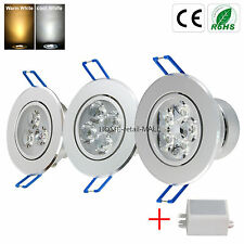 Dimmable 9W/12W/15W Reccesed LED DownLight Ceiling Cabinet Lamp Warm/White Light