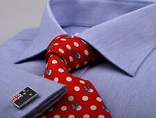 Men's Business Shirt in Blue Hairline Striped Design for Formal and Dress Style