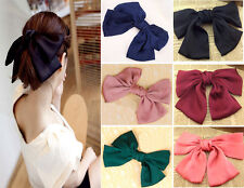 Sweet Big Hair Satin Bow Hair Clips Gossip girl style bowknot 6 colors