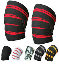"Weight Lifting Knee Wraps Power Lifter Supports Gym Training Fist Straps 74"", 3"""