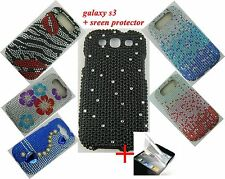 For Samsung Galaxy S3 i9300 Full Diamond Bling Hard Cover case +Screen Protector