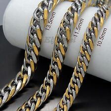 MEN'S 10.5MM 11.5MM 13.5MM Silver Gold Curb 316L Stainless Steel Chain Necklace