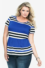 Torrid Blue White Black Striped Peplum Top Plus Size 0 1 2 3 4 Blouse Tee NWT