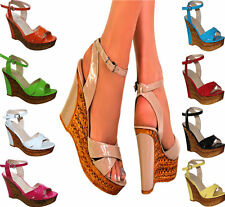 LADIES BRIGHT WEDGE HIGH HEEL PLATFORM PEEP TOE ANKLE STRAP SHOE SANDALS 3-8
