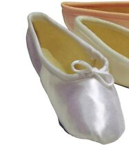 PREMIUM WHITE SATIN TAPPERS & POINTERS FULL SOLE BALLET SHOES WITH ELASTICS