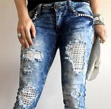 NEW MACHINE JEANS DESTROYED RIPPED DISTRESSED WOMEN SKINNY SLIM DENIM STONES
