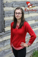 Metis Sweater Etchiboy Chandail Red Rouge Alpaca Wool Laine Bell Shape S-XXL