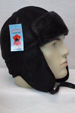 NEW Real Shearling Leather Black /Grey Aviator Trapper Ushanka Hunting Hat M-XXL