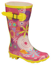 Boots Childrens Jacobson Funky Fuschsia Multi Wellingtons Wellies FAB924