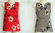 FAB EX NEXT FLOATY VEST CAMISOLE TOP RED / BEIGE FLORAL 6 8 10 12 14 16 18 20 22
