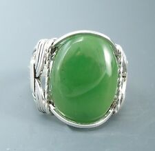 Sterling Silver Nephrite Jade Cabochon Wire Wrapped Ring