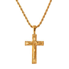 18K Gold Plated Cross Pendant On Rope Chain - Made In USA - LIFETIME WARRANTY