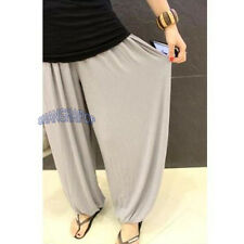 Women Harem Yoga Trousers Baggy Tapered Pants Loose Wide Leg Belly Dance Black