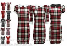 H3C NEW LADIES TARTAN PRINTED SHORT SLEEVE WOMENS TUNIC MINI DRESS TOP SM ML