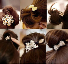 Women Girls Crystal Rhinestone Pearl Hair Band Elastic Ponytail Holder Bowknot