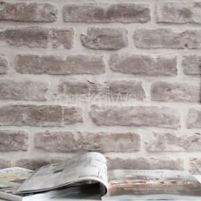 'Brick House' wallpaper Stone Brick Effect Wallpaper in Stone & Cream