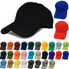 Plain Solid Baseball Cap Adjustable Velcro Curved Visor Blank Polo Hat 28 COLORS