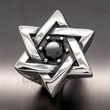 MEN's Huge Heavy Silver STAR OF DAVID 316L Stainless Steel Ring