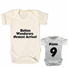 BOLTON WANDERERS PERSONALISED FOOTBALL BABYGROW CHOOSE YOUR NAME AND NUMBER