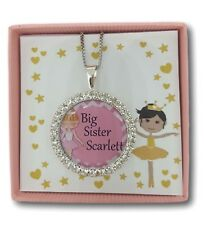 Personalised girls necklace jewellery big little sister best friend gift present
