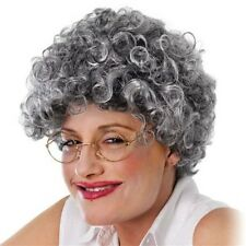 GRANNY OLD LADY MAN LADIES MENS BUN CURLY WIG Fancy Dress COSTUME PARTY